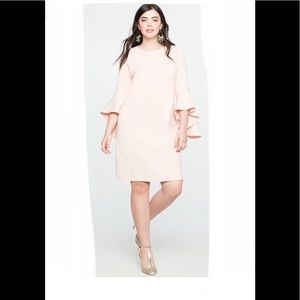 NWT Eloquii Flounce Sleeve Shift Dress Blush sz 16